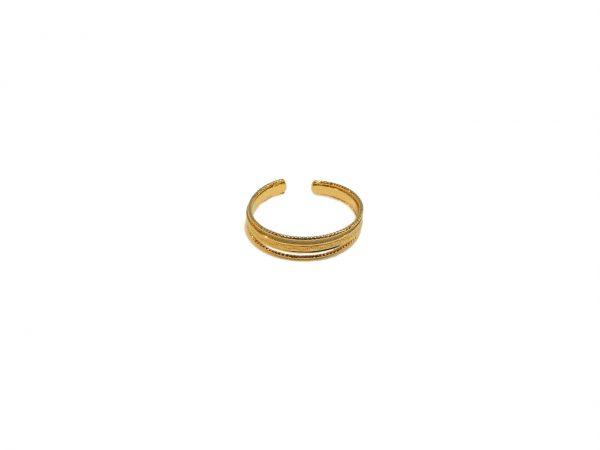Bague ajustable dorée à l'or fin.