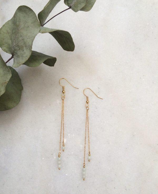 Boucles d'oreilles pendantes dorées à l'or fin et ornées de pierres en amazonite