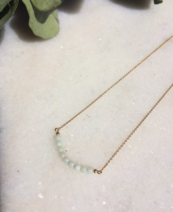 collier Aurora doré à l'or fin et ses perles en amazonite