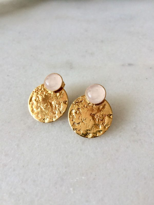 boucles d'oreilles puces dorées et rose