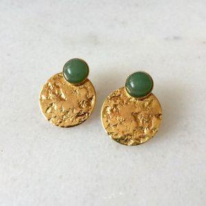 boucles d'oreilles puces dorées et vertes