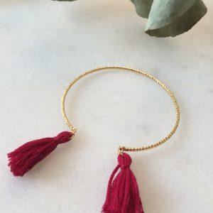 bracelet fantaisie doré et pompon