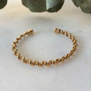 bracelet jonc fantaisie Tourbillon doré à l'or fin