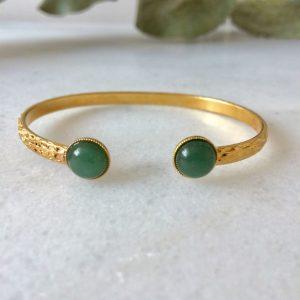 bracelet jonc doré pierre amazonite verte