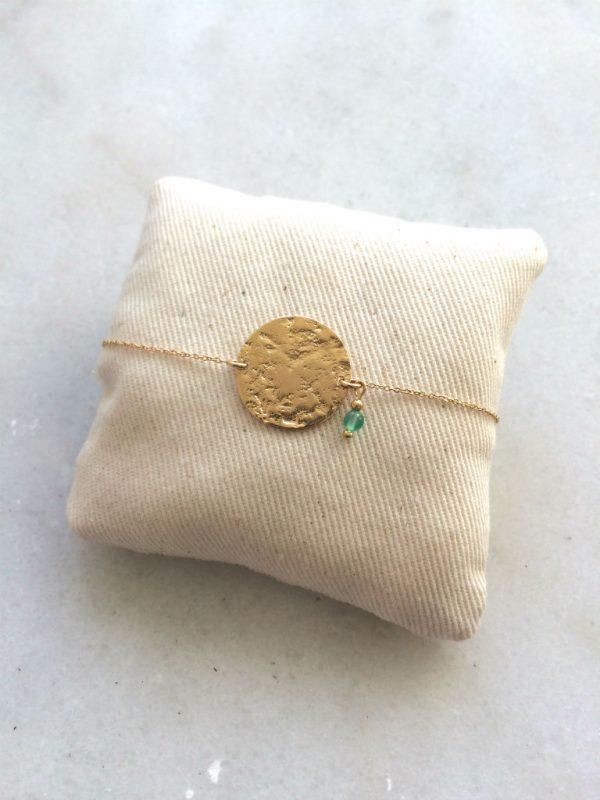 bracelet fantaisie doré et pierre amazonite verte