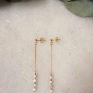 Boucles d'oreilles pendantes dorées à l'or fin et perles en howlite